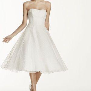 {Galina} Tea Length Dotted Organza Wedding Gown